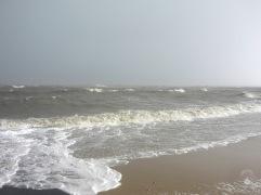 Sturmflut am Duhner Strand.