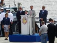 Eröffnung der Sail durch den Bundespräsidenten Joachim Gack, den Bremer Bürgermeister Carsten Sieling und den Bremerhavener Oberbürgermeister Melf Grantz.
