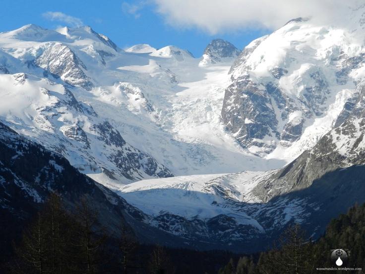 Die Zunge des Morteratschgletschers im Schweizer Kanton Graubünden.