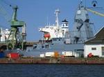 Die Fregatte Sachsen im Dock der Lloydwerft Bremerhaven.