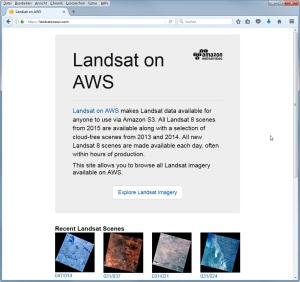 Webseite Landsat on AWS