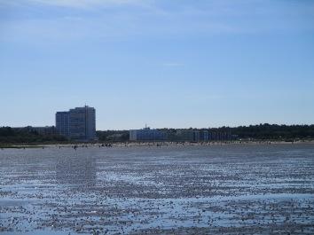 Ausgangspunkt der Wattwanderung, der Sahlenburger Strand. Im Vordergrund unzählige Kothaufen des Wattwurms.