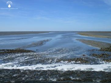 """Querung des Priels """"Sahlenburger Loch"""" an der mit Steinen gesicherten Furt, gut einen Kilometer vor dem Sahlenburger Strand."""