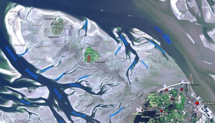 Satellitenbildkarte des Wattenweg von Cuxhaven nach Neuwerk.