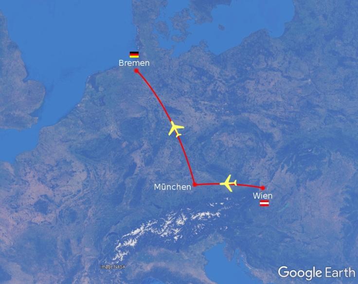 #Flug Wien München Bremen