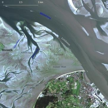 Wattenmeer vor Cuxhaven am 8. Juli 2016