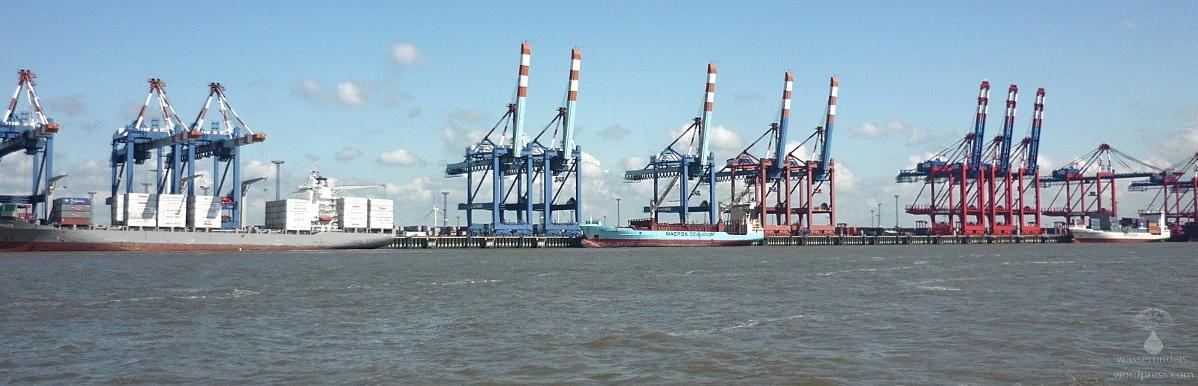 Containerhafen Bremerhaven an der Weser.