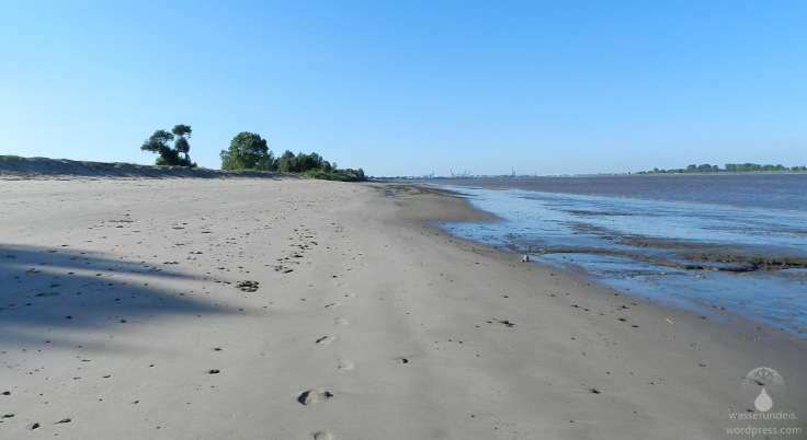 Der Weserstrand von Kleinensiel bei Ebbe.