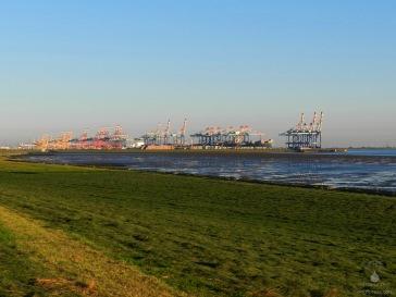Abendstimmung am Containerterminal Bremerhaven.