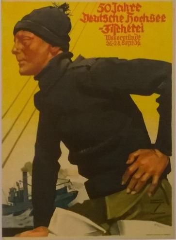 Plakat zum Jubiläum 50 Jahre Hochseefischerei in Wesermünde bzw. Bremerhaven.