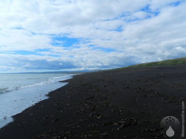 Strand Lava schwarz Sand Island