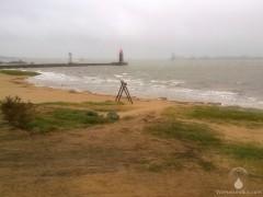 Das überflutete Weserstrandbad Bremerhaven.