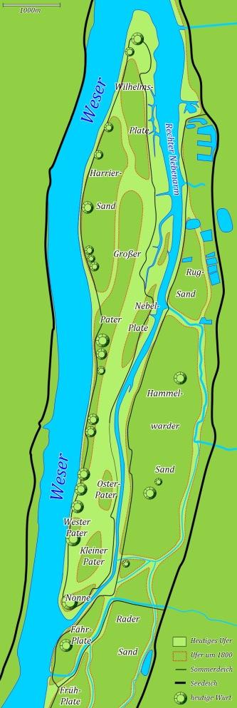 Karte Harriersand Insel Weser Weserinsel