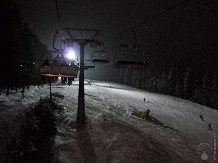 Nachtski Flutlicht Skiliftkarussell Winterberg