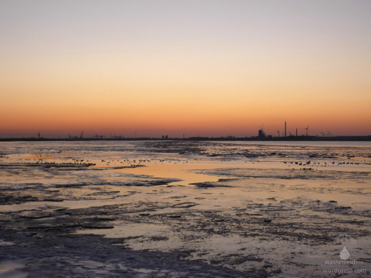 Sonnenuntergang Lunewatt Bremerhaven