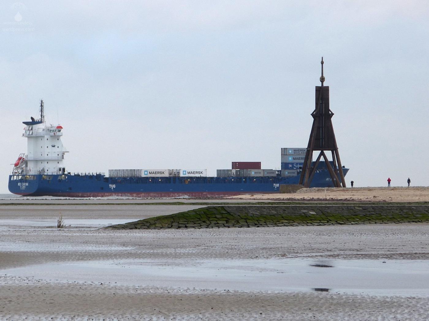 Kugelbake Elbe Döse Schiffe