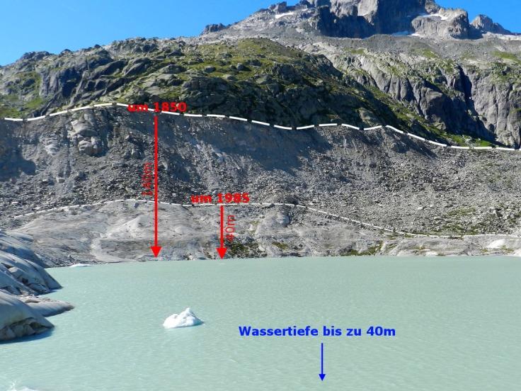 #Moränen Rhonegletscher Gletschersee Eisdicke 2019