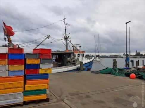Kaje des Fischerhafens. Kappeln ist noch immer ein lebendiger Fischerort mit zahlreichen Kuttern.