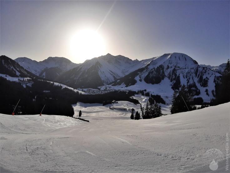 Skipiste im Thanellerkar in der Skischaukel Berwanger-Tal.