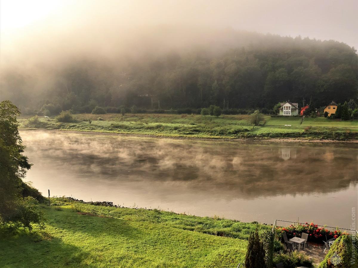 #Sonnenaufgang Nebelschwaden Elbe